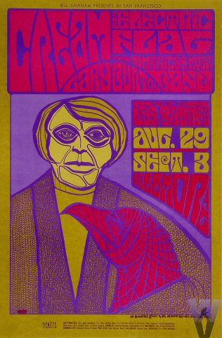 Fillmore poster for Cream's Aug. 29-Sept. 3, 1967 shows with the Electric Flag and the Gary Burton Quartet.
